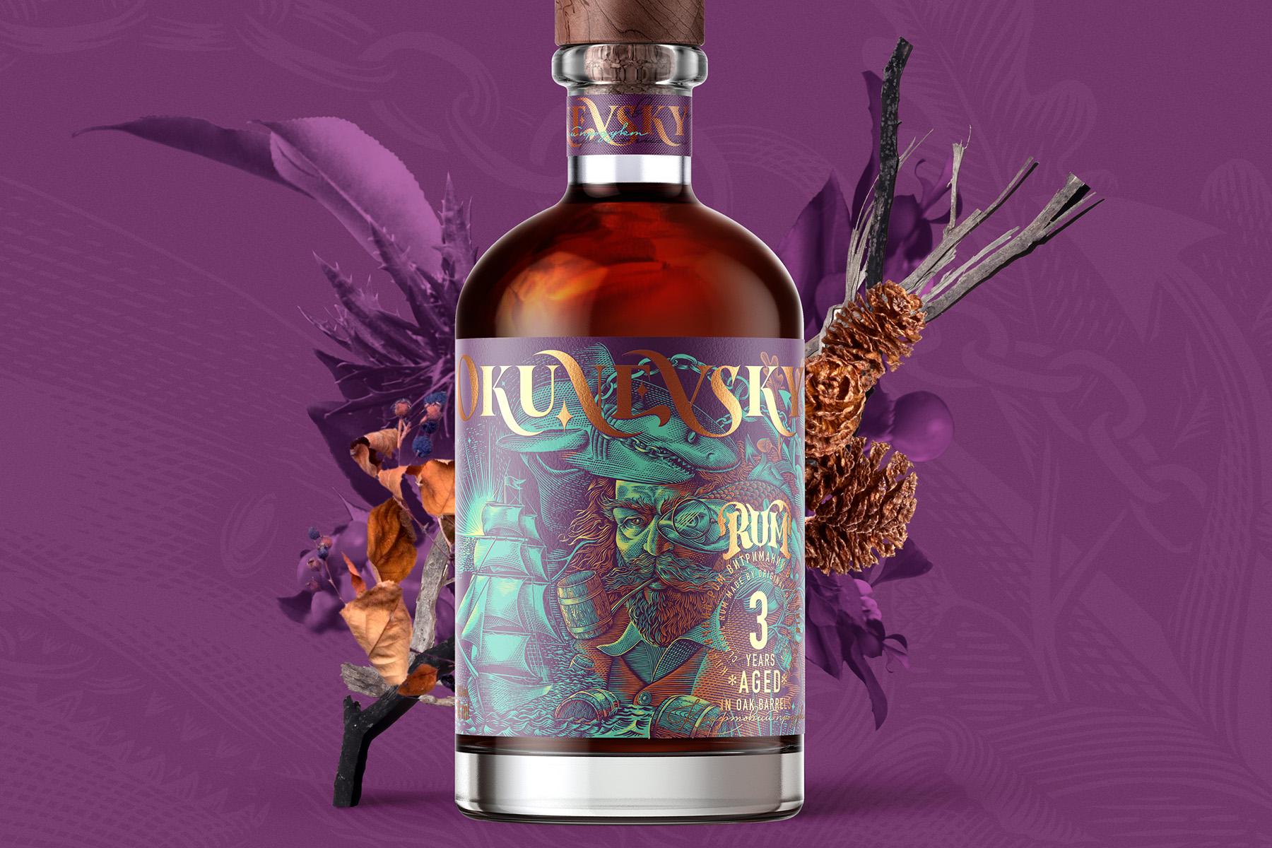 与Okunevsky乌克兰朗姆酒包装一起开始世界航海探索之旅