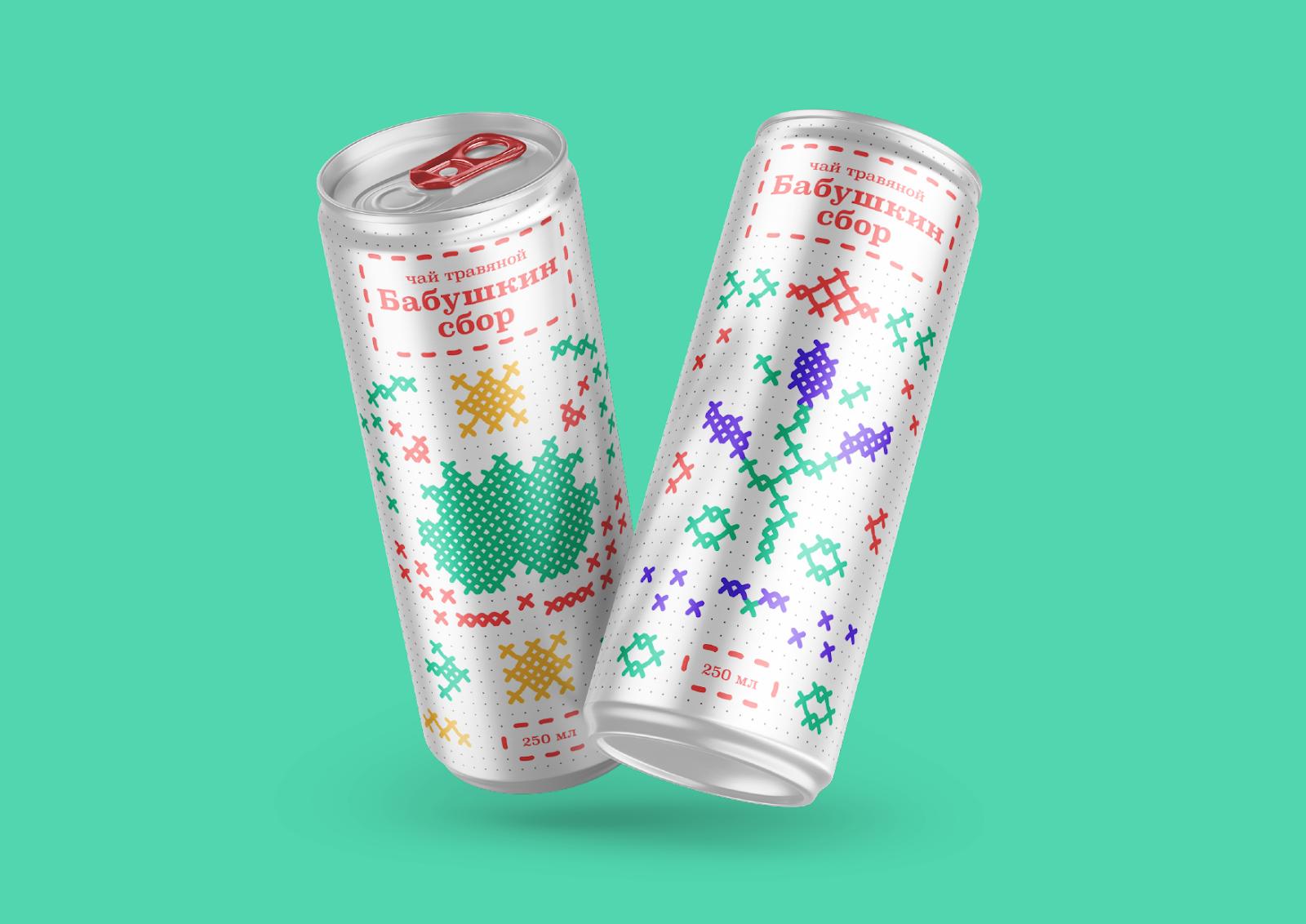 冰茶饮料包装设计(十字绣马赛克风格)