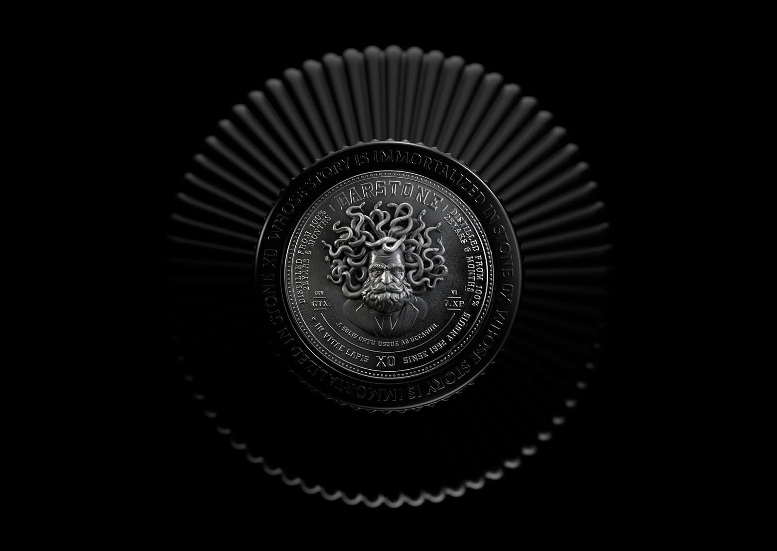 黑色经典创意有希腊神话的酒包装设计
